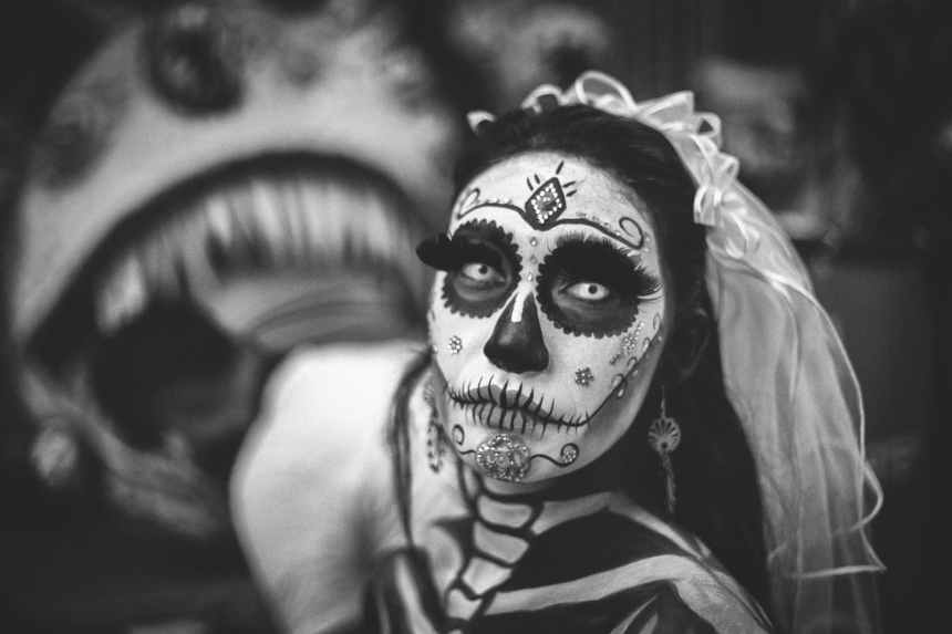 greyscale photo of day of the dead corpse bride